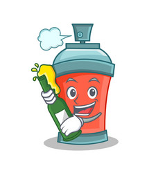 Aerosol spray can character cartoon with beer vector