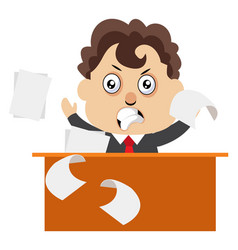 angry man at desk on white background vector image
