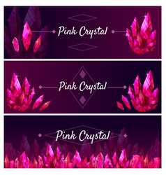 Beautiful jewel rubanners set great design for vector