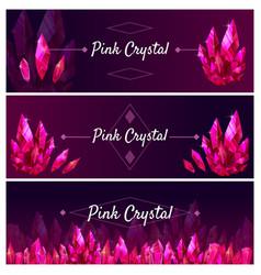 Beautiful jewel ruby banners set great design vector