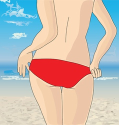 Beautiful woman on the beach vector image
