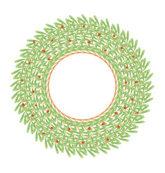 big green wreath made of wild daphne branches vector image