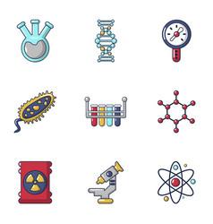 Biochemistry icons set cartoon style vector