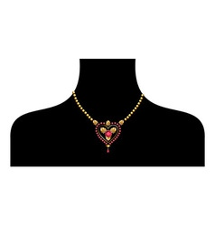 Black female silohuette with golden neckless vector