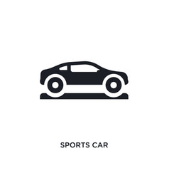 Black sports car isolated icon simple element vector