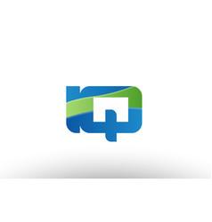 Blue green iq i q alphabet letter logo vector