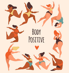body positive happy overweight women in swimsuits vector image