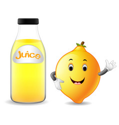 Bottle of lemon juice with cute lemon cartoon vector