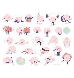 Brain stickers set vector image