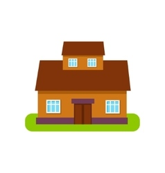 Brown Suburban House Exterior Design With Attic vector