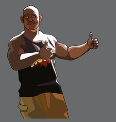 cartoon smiling muscular man approvingly showing vector image