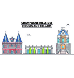 Champagne hillsides - houses and cellars lin vector