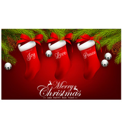 christmas gifts on red background vector image