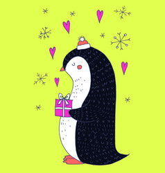 christmas greeting card with penguin vector image