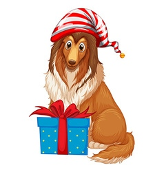 Christmas theme with dog and present box vector