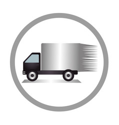 circular emblem of truck with wagon vector image