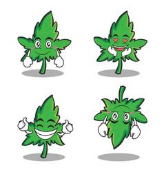 Collection set of marijuana character cartoon vector
