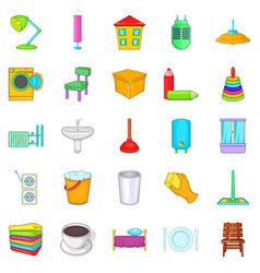 Cozy house icons set cartoon style vector