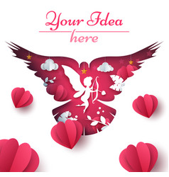 Cupid dove heart love vector