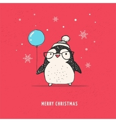 Cute penguin with balloon - merry xmas vector