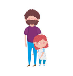 dad and daughter standing characters vector image
