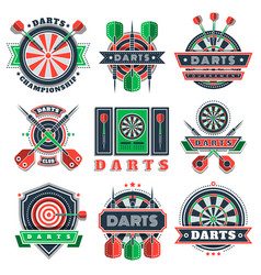 darts tournament icons and badges for sport clubs vector image