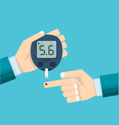 Diabetes test concept mans hand and glucometer vector