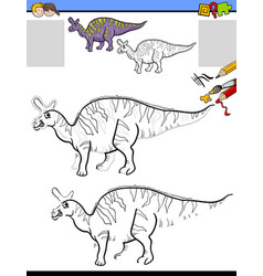drawing and coloring task with lambeosaurus vector image