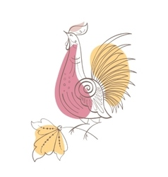 Fantasy rooster in russian ornamental style vector
