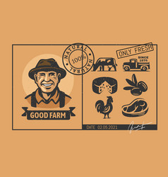 farm black stickers with farmer and food vector image