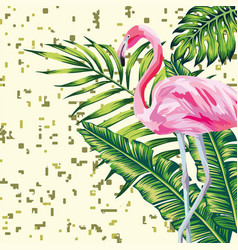 flamingo and leaves print digital background vector image