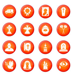 funeral ritual service icons set red vector image