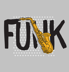 funk music lettering type poster design with a vector image