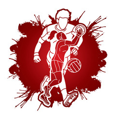 Gaelic football male and female players sport mix vector