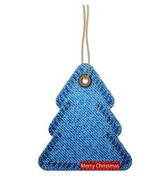 Greeting card with the Christmas tree on the denim vector image
