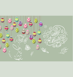 happy easter template with color ribbon and eggs vector image