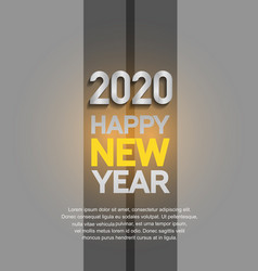 Happy new year 2020 silver number isolated black vector