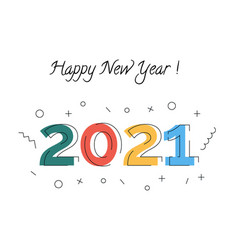 happy new year 2021 congratulation greeting card vector image