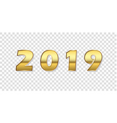 happy new year background gold 3d number 2019 vector image