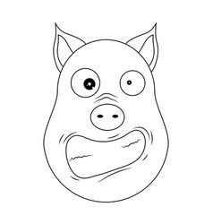 head of hysterical pig in outline style kawaii vector image