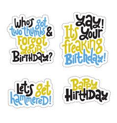 irreverent birthday sticker set design template vector image
