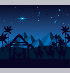 Joseph and mary with jesus in the manger and vector