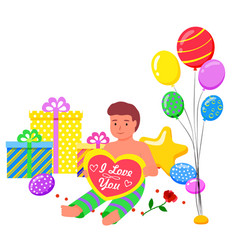 kid sitting in photozone balloons and presents vector image