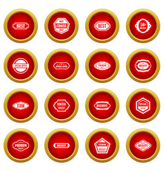 Labels icon red circle set vector