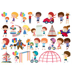 Large set isolated objects kids and circus vector