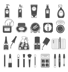 Makeup beauty accessories black icons set vector