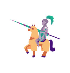 medieval knight in a helmet and armor on a horse vector image