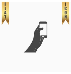 Mobile phone in hand icon vector