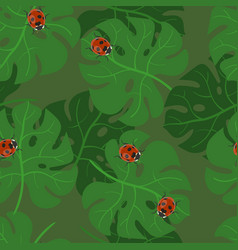 monstera leaves seamless pattern with ladybugs vector image