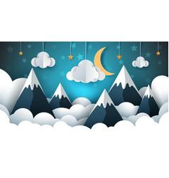 Mountain landscape paper cloud star vector